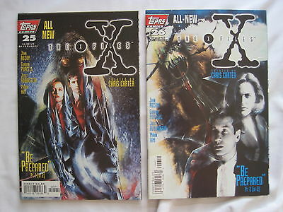 """THE X FILES #s 25,26 : """"BE PREPARED"""" complete 2 issue story. MULDER. TOPPS. 1997"""