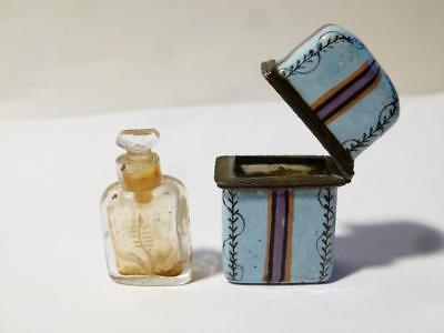 Antique Georgian 18thC Bilston Enamel ETUI Box & Engraved MW Scent Bottle #T507C