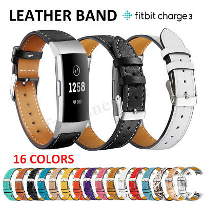 Leather Wrist Band Strap Smart Watch Bracelet Replacement For Fitbit Charge 3