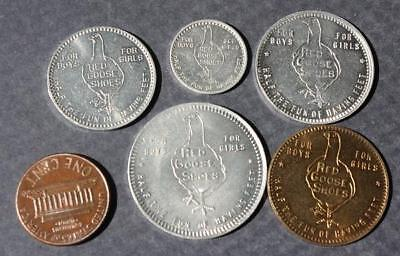 1920-30s Era Red Goose Shoes 5 (FIVE!) token set-10-25-50 cents-1 and 5 dollars!