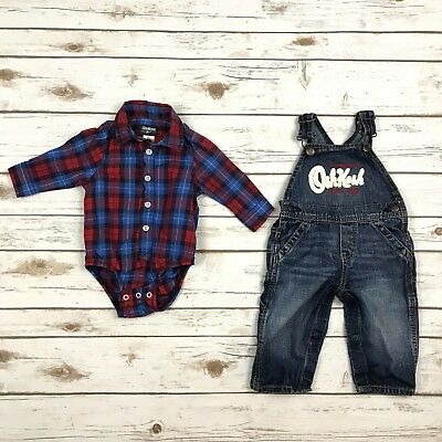 OSH KOSH Boys Size 9m Blue Red Plaid Long Sleeved Bodysuit Denim Overalls Outfit