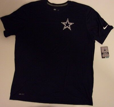 New Nike Dallas Cowboys NFL Football Dri-Fit t-shirt men's XXL 2XL Navy Blue