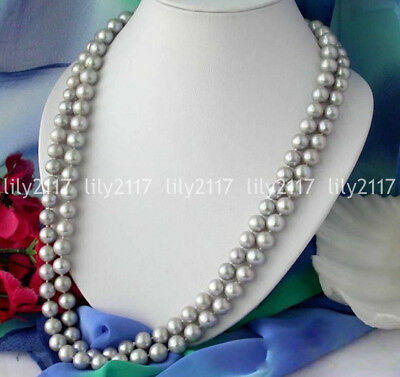 Beautiful Natural 8mm Gray Shell Pearl beads Jewelry Necklace 18/25/36/50'' AAA