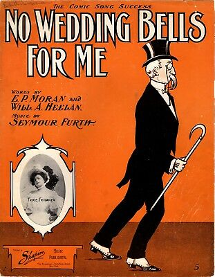No Wedding Bells For Me, Trixie Friganza photo, 1906, vintage sheet music