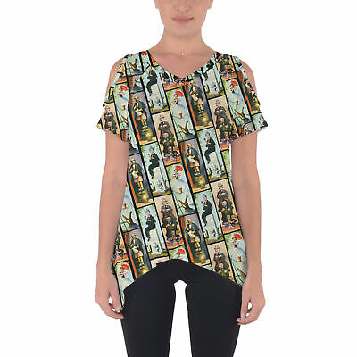 Haunted Mansion Stretch Paintings Cold Shoulder Tunic Top