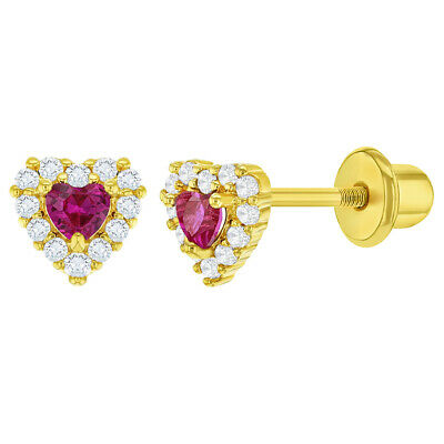 5f3b2140a5693 18K GOLD PLATED Heart Screw Back Earrings Baby Toddlers Girls Hot Pink  Clear CZ