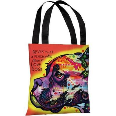 One Bella Casa 72125TT18P 18 in. Profile Boxer with Text Polyester Tote Bag b...