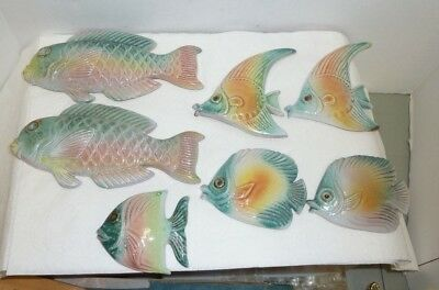 Vintage Mid Century Lot 7 Fish Tropical Fairfield Clay Wall Hangings