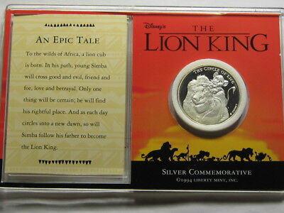 The Lion King Mufasa & Simba Disney 1994 Movie Debut Rare 999 Silver Coin Coa