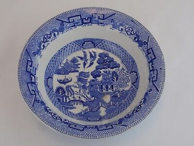 RIDGWAY England Semi China 8.5 Inch BLUE WILLOW Round Serving Bowl