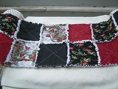 Handmade rag quilt table runner Christmas red cardinal and black floral