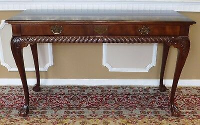 Flame Mahogany Chippendale Style Hallway Sofa Table Service Console Table c1990s