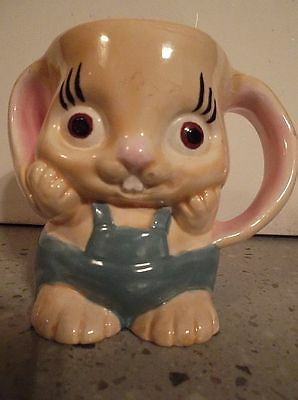 RARE! Antique/Vintage heavy Pottery Children's Bunny Rabbit in Bibs Mug.