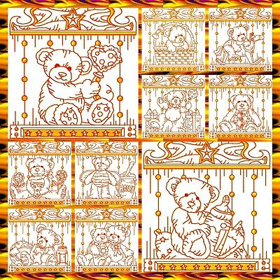 Teddy Borders In Redwork 10 Machine Embroidery Designs Cd 3 Sizes
