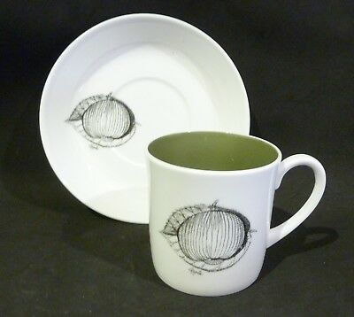Susie Cooper Black Fruits  Coffee Can / Cup & Saucer Apple