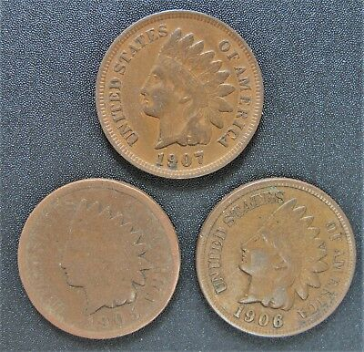 Lot Of 3 Indian Head Cents 1905-1906-1907 Combined Shipping 1905