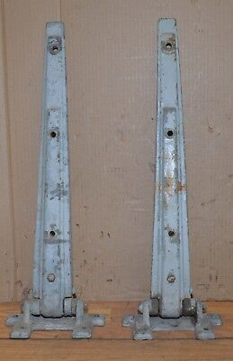 "2 huge 1950's industrial meat locker hinges collectible steam punk 24"" long lot"
