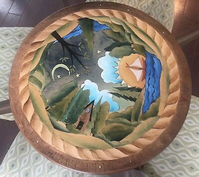 """STICKS Hand Made/Painted Wooden Forest Theme 20"""" Lazy Susan Table Top Tray"""
