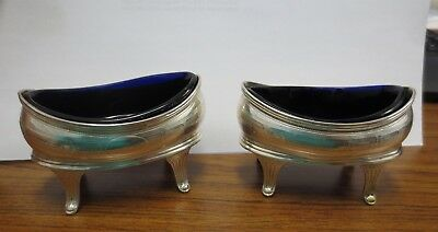 (2) Antique English Sterling Trays/Ash Trays w/ Blue Glass (TJ, Lion, King, M, S