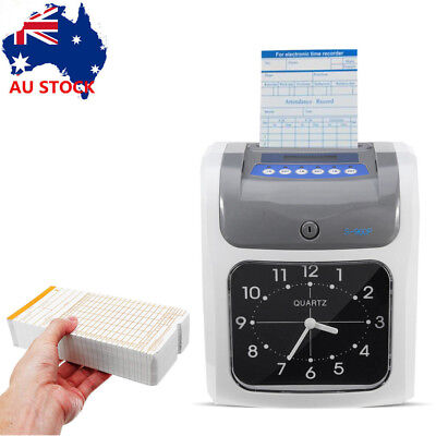 Electronic Employee Time Attendance Time Clock Recorder Bundy+ 100pcs Timecards