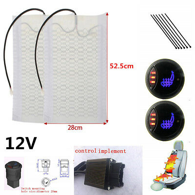 Round Button 3-Level LED Switch Carbon Fibre Single Car Seat Heater Heating Pad