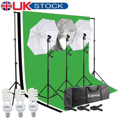 Photo Studio Continuous Lighting Kit 3 Umbrella Background Support 3 Backdrops