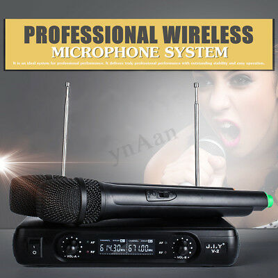 Professional 2 Channel Wireless Dual Handheld Microphones 1 Receiver Mic System