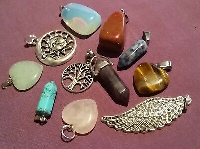 Wow - Premium Bulk Lot 10 Assorted Pendants Inc Gemstone  With Free Postage