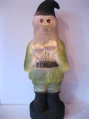 Blow Mold Halloween Zombie Gnome Red Eyes Lighted COUPLE LEFT