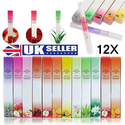 12X Random Mix Taste Cuticle Revitalizer Oil Pen for Nail Art Treatment Care UK