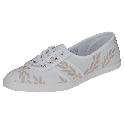 Fred Perry Aubrey Printed Womens White Beige Leather Trainers