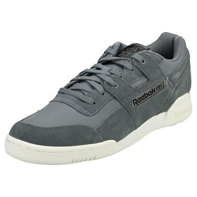 Reebok Workout Plus Mu Mens Grey Black Suede   Synthetic Trainers 36a66c7a2