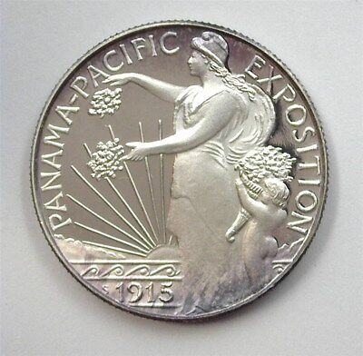1915 Panama Pacific Expo Silver 50 Cents -Private Mint- Near Perfect Proof Dcam