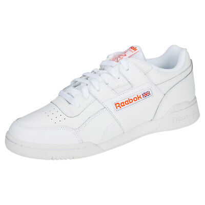 Reebok Workout Plus Mu Unisex White Orange Leather   Synthetic Trainers 317e45313