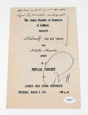 David Rubinoff Signed 1947 Program Cover Violinist JSA Auto