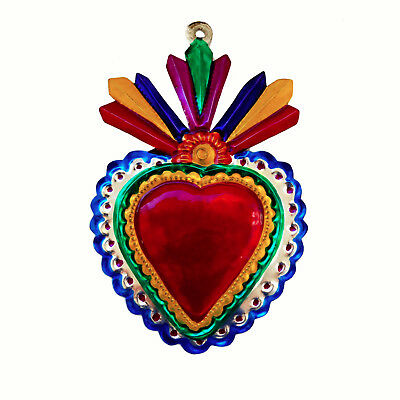 Hand-Punched Tin Ornament | Sacred Heart Milagro  | Colorful Mexican Folk Art