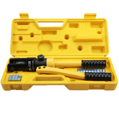 10 Ton Hydraulic Wire Terminal Crimper Battery Cable Lug Crimping Tool w/Dies