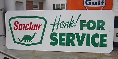 Sinclair Honk For Service Sign Gasoline Station Garage  Dino Supreme Oil Gas