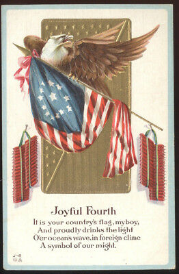 Early Embossed 4Th Of July Post Card, Eagle & Flag Motif