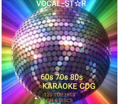 KARAOKE CDG  VOCAL STAR  HUGE KARAOKE HITS OF  60s 70s & 80s   120 HITS 6 DISCS