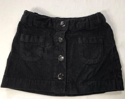 Gap Girls 5 Black Corduroy Skirt with Button Front and Adjustable Waist