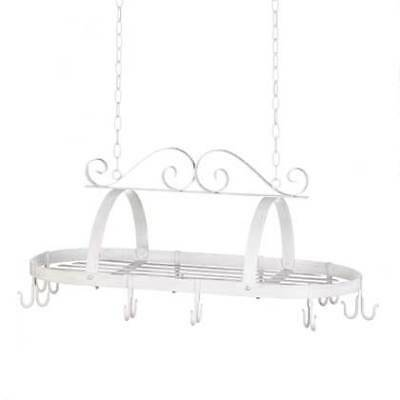 Wrought Iron White Metal Vintage Country Scrollwork Hanging Pot Holder Rack