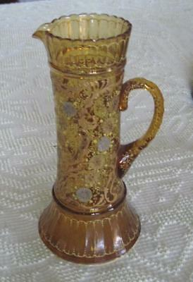 "Hand Decorated Raised Relief Victorian Art Glass Amber Floral 12"" Pitcher"