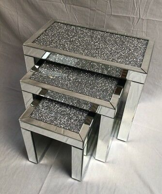 Brand New Crushed Diamond Mirrored Nest of 3 Tables