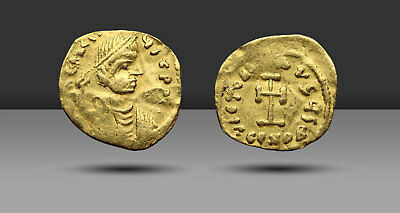 Heraclius. Gold Tremissis, AD 610-641. Constantinople. Cross potent