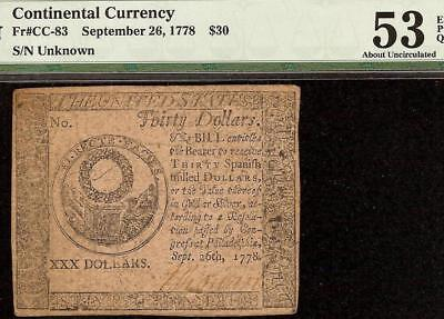 1778 $30 Dollar Continental Congress Currency Nature Print Note Cc-83 Pmg 53 Epq