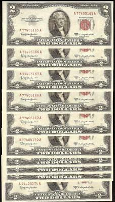 10 CONS 1953 C $2 DOLLAR UNITED STATES LEGAL TENDER RED SEAL NOTES Fr 1512 UNC
