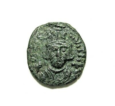 Byzantine Empire. Bronze 1/2 Follis. Constans Ii, 641-668 Ad. Carthage Mint.