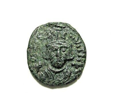 Byzantine Empire. Bronze 1/2 Follis. Constans Ii, 641-668 Ad. Carthage Mint.
