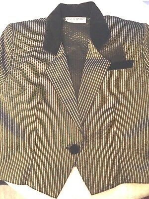VINTAGE Francine Browner Black and Gold Pin Stripe Cropped Jacket Sz SMALL